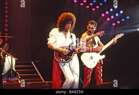 QUEEN - UK rock group with Freddie Mercury at right and Brian May - Stock Photo