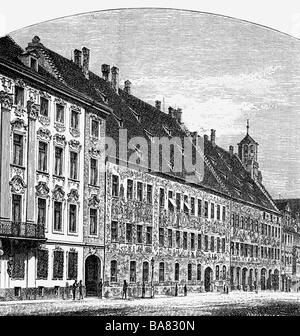 geography / travel, Germany, Augsburg, Fugger Houses, Maximilianstrasse, extrior view, wood engraving, 19th century, - Stock Photo