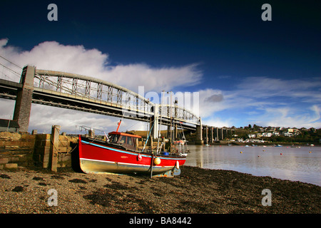 The Royal Albert Bridge that links Devon and Cornwall across the River Tamar - Stock Photo