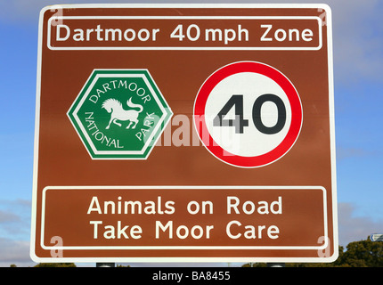 Speed limit sign on Dartmoor National Park , Devon, England. - Stock Photo