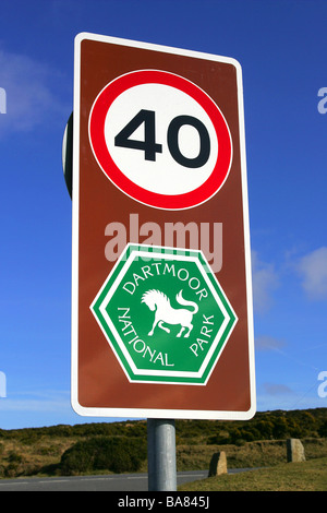 Speed limit sign on Dartmoor National Park, Devon, England. - Stock Photo