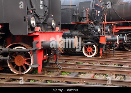Old steam engines locomotives - Stock Photo