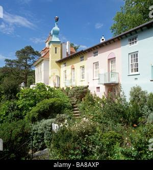 UK Wales Gwynedd Portmeirion Village near Porthmadog Italianate architecture by Clough Williams Ellis - Stock Photo