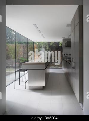 Galley kitchen in Loft Apartment, Islington, London, UK. - Stock Photo