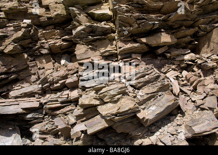 Rockface of stacked shale at Stmarys loch - Stock Photo