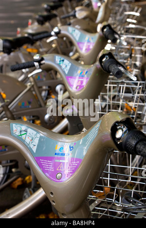 Velib bicycle rental scheme bicycle hire scheme available throughout the Paris France - Stock Photo
