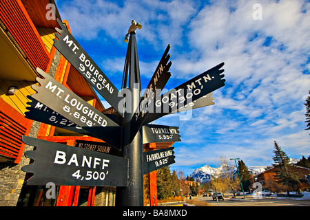 Sign post in Banff pointing to various mountains. - Stock Photo