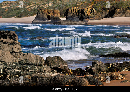 Santa Luzia is a small calm coastal village in the eastern Algarve - Stock Photo