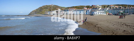 Panoramic view of Aberystwyth North beach. - Stock Photo