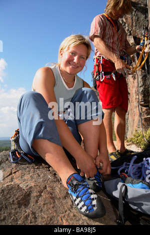 Rock climbing Norrbotten Sweden - Stock Photo