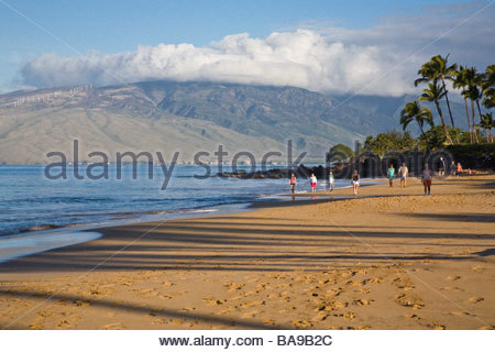 Kamaole Beach with West Maui Mountains in the distance on the island of Maui in the state of Hawaii USA - Stock Photo