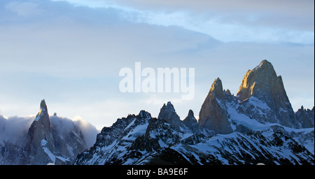 Cerro Chaltn in sunrise Patagonia Argentina - Stock Photo