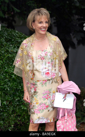 TV personality Esther Rantzen at society party in in Chelsea wears a floral suit and shawl - Stock Photo