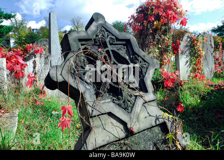 Headstones in Brompton Cemetery London - Stock Photo