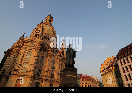 Frauenkirche church, Martin Luther statue, Dresden, Germany - Stock Photo
