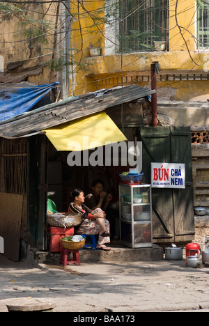 Simple street restaurant in Hanoi Vietnam - Stock Photo