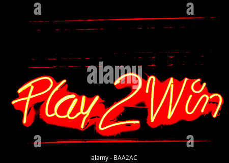 A neon sign in a Casino in London - Stock Photo