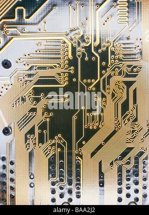Printed circuit card, close-up. - Stock Photo