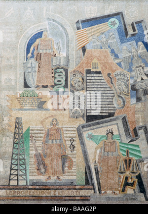Mosaic Arti, Mestieri e Professioni by Fortunato Depero - Stock Photo