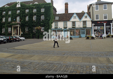 The Angel Hotel, and adjacent buildings on the West side of Angel Hill, Bury St Edmunds, Suffolk. - Stock Photo