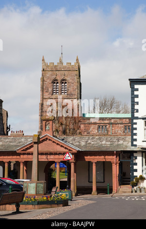 Cloisters in Market Square in small northern town. Kirkby Stephen Upper Eden Valley Cumbria England UK - Stock Photo