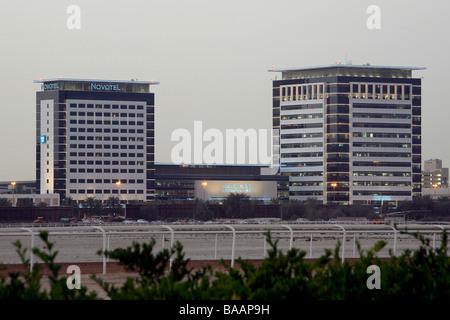 Exhibition center and Hotel Novotel in Dubai, United Arab Emirates - Stock Photo