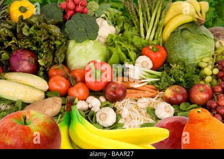 This is a display of various fruits and vegetables - Stock Photo
