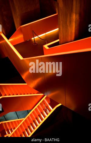 illuminated staircase at Zeche Zollverein industrial complex - Stock Photo