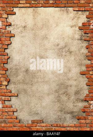 Wall background with red brick frame - Stock Photo