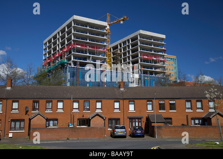 new office block and apartment buildings being constructed as part of a regeneration programme in the laganside - Stock Photo