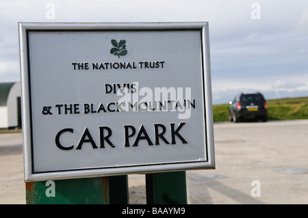 Sign at the entrance to Divis and Black Mountain car park, owned by the National Trust - Stock Photo