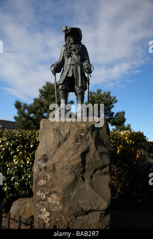 King William of Orange statue commemorates the landing in Ireland by King William III at Carrickfergus on 14th June - Stock Photo
