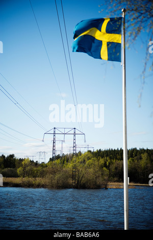 The Swedish flag, Sweden. - Stock Photo