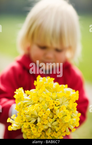 A girl with cowslips, Sweden. - Stock Photo