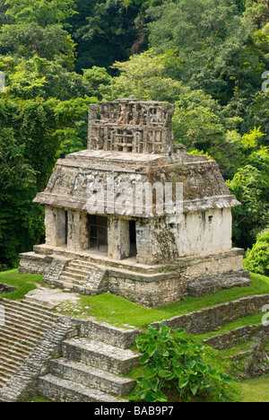 Temple of the sun, Palenque archaeological site Chiapas, Mexico - Stock Photo