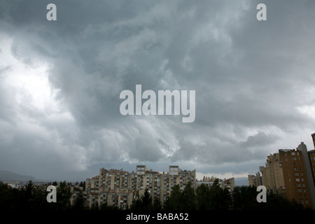 Storm clouds gathering over northern suburb of Ljubljana Slovenia - Stock Photo