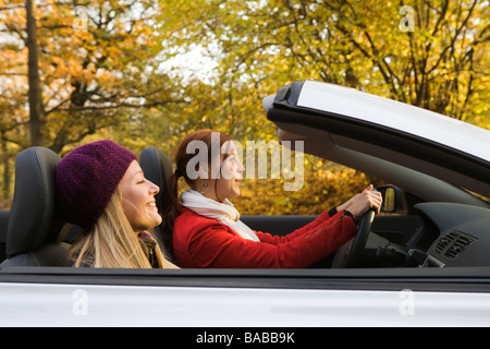 Two young women driving a cabriolet Sweden. - Stock Photo