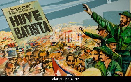 Painting of Fidel Castro's victory in the Cuban Revolution found in the Museum of the Revolution, Havana, Cuba. - Stock Photo