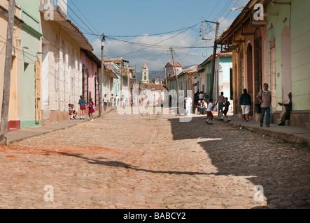 Street scene in the colonial village of Trinidad, Cuba. - Stock Photo
