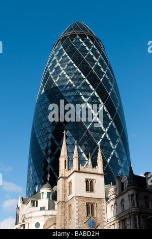 30 St Mary Axe known as the Gherkin in the City of London England UK - Stock Photo