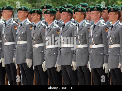 Guard of honor of German Armed Forces during visit of French prime minister Francois Fillon, Berlin, Germany - Stock Photo