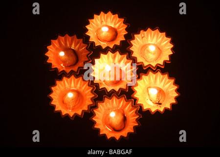 Beautiful oil lamps against black - Stock Photo