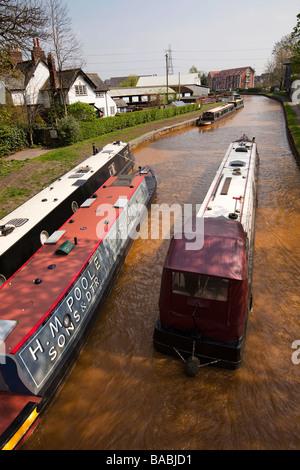UK England Salford Worsley narrowboats on the Bridgewater Canal at the old boat yard - Stock Photo