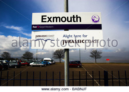 Exmouth train station sign, Devon, UK - Stock Photo