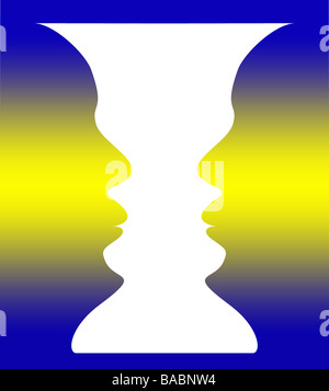 optical illusion of a vase with blue yellow background or two people facing each other - Stock Photo