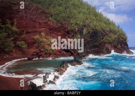 Red sand beach in Hana, Maui, Hawaii - Stock Photo