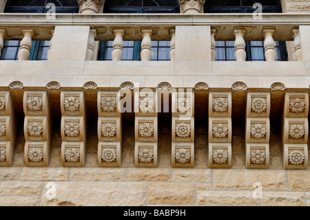 Stone corbels under a balcony of the Marland Mansion, s National Historical landmark in Ponca City, Oklahoma. - Stock Photo