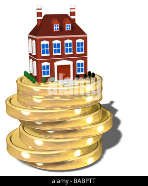 coins with house - Stock Photo