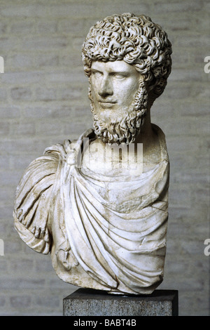 Verus, Lucius Aelius Aurelius, 15.12.130 - January/February 169, Roman Emperor 8.3.161 - 169, portrait, bust, marble, - Stock Photo