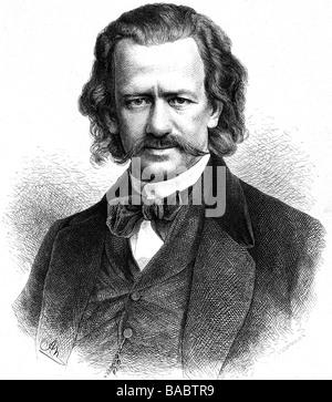 Brachvogel, Albert Emil, 29.4.1824 - 27.11.1878, German author/writer, portrait, wood engraving by Adolf Neumann - Stock Photo